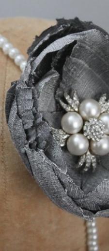 Grey silk and pearl hair band