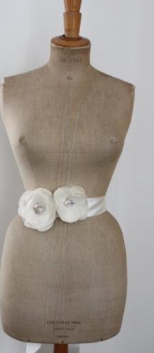 White silk dress belt