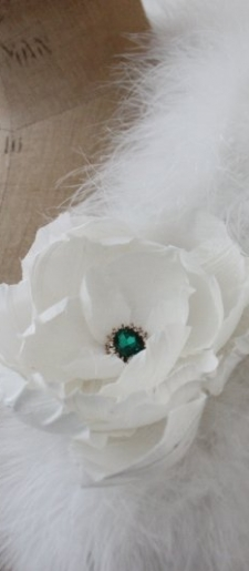 White silk brooch or dress brooch
