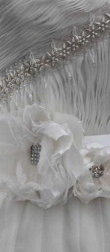 White silk wedding dress belt