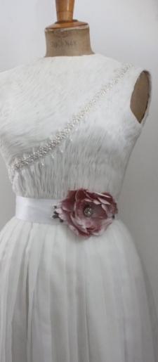 Pink silk wedding dress belt