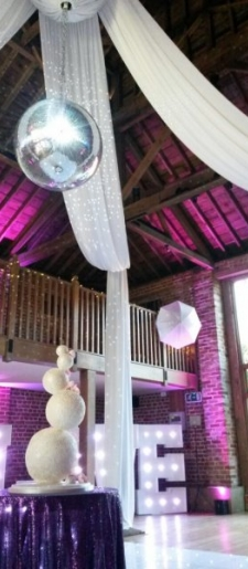 Disco ball drape at Gaynes Park