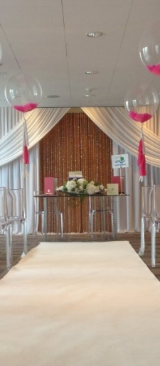 Backdrop with crystals at River Park Plaza Canary Wharf
