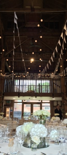 Festoon lights with bunting