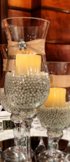 3 Tear-glass-hurrcain-vases-with-pearls and led candle