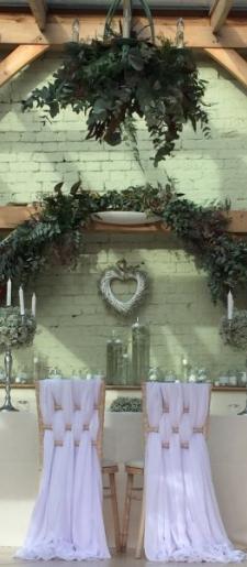 White Grecian bride groom chair decor