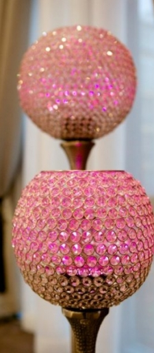 Floor standing crystal globes with droplight