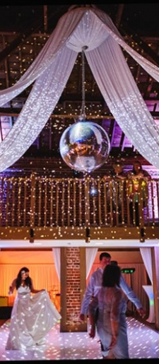 Drape-disco-ball-first-dance at Gaynes Park