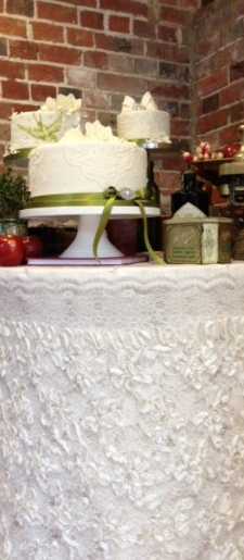 Ruffled cake table decor