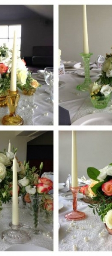 Selection-of-vintage-glass-ware-and-candle-holders